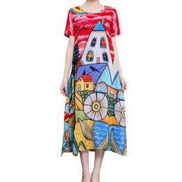 Più retro modello di formato online-Abito da donna Plus Size Summer Pattern Stampa Colorato femminile Allentato cotone manica corta Casual Retro Vintage abiti di grandi dimensioni