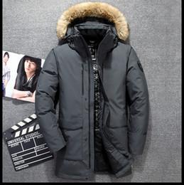 Abrigo de esquí largo online-Nuevo diseño Hombre abajo Parkas chaquetas Winter North Ski White Duck Down Largo de piel con capucha Chaquetas Outdooor SoftShell Abrigos S-XXL