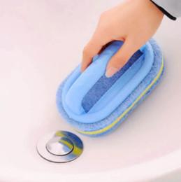 Carreaux de parement en plastique en Ligne-Nettoyant de cuisine brosse de récurage tampon de salle de bains carrelage mural en verre éponge en caoutchouc nettoyant de baignoire avec poignée en plastique