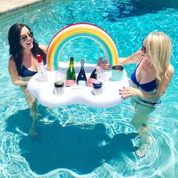 coupes à salade Promotion Titulaire de boisson gonflable piscine arc-en-ciel nuage boisson glacée à la salade de fruits Cola titulaire de bière Titulaire de la piscine piscine Titulaires de gobelets d'eau