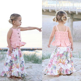 top boat brands Coupons - Summer kid girls strap pink top flower dresses children party princess dress sweet baby clothing cute fashion kids girl clothes outfit