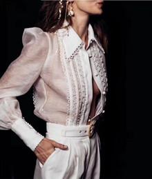 Camicetta femminile formale online-Womens White Puff manica lunga risvolto cave camicetta camicetta formale camicetta fase pizzo top OL A234