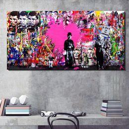 2019 pop art heimtextilien leinwand Große Leinwand Wanddekor Pop Art Malerei Abstrakte Straße Graffiti Wandbild Druck auf Leinwand für Wohnzimmer Wanddekoration günstig pop art heimtextilien leinwand
