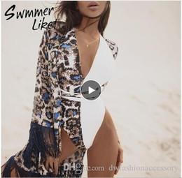 Tassel Leopard Chiffon Strand Vertuschungen Tuniken für Strand Kaftan-Bikini-Vertuschung robe de plage Sarong Strand Badeanzug Vertuschung 2019 von Fabrikanten