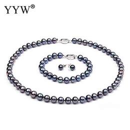 Perles de culture en Ligne-Parure de bijoux perle de culture d'eau douce naturelle, collier, boucle d'oreille, collier, pomme de terre pour femme noir 9-10mm, Vendu par set