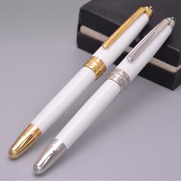 2019 fontana d'oro Alto grado 163 MB penna Classique White Resin Golden Clip a sfera / Rollerball / Stilografica forniture stazionarie per la scrittura regalo fontana d'oro economici