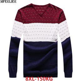 2019 tops 7xl MFERLIER зима мужчины свитер лоскутное вязание хлопок геометрические пуловеры свитера человек плюс большой размер 5XL 7XL 8XL главная топы дешево tops 7xl