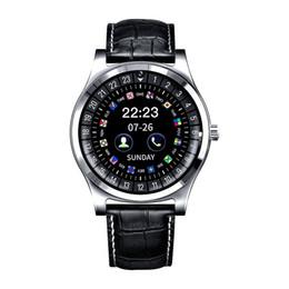 R68 Bluetooth Смарт Часы-Телефон 1.22 дюймов IPS Круглый Сенсорный Экран Кожаный Ремешок Роскошные Bluetooth Smartwatch Поддержка SIM-карты TF Карта от