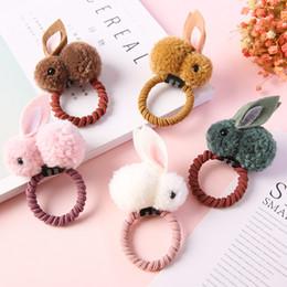 Kaninchenhaargarn online-Mädchen Nette Ball Pompoms Bunny Haargummibänder Clips Kinder Garn Pom Pom Kaninchen Elastisches Haar Ringhalter Für Kinder
