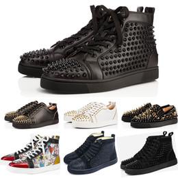 Chaussures de soirée en Ligne-christian louboutin cloutées chaussures à crampons chaussures rouges bas chaussures hommes femmes amateurs de fête baskets en cuir véritable taille 36-46