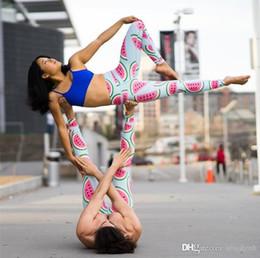 Medias de sandía online-Mujeres Pantalones de Yoga Pantalones Impresión Digital sandía digital forma de impresión Pantimedias dama Cintura alta Actividad de baile Leggings Medias