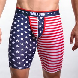 eaa0532902 2019 New Cotton Long style Men Boxers Underwear Brand Boxer American Flag  Printing Underpants Man Boxers Breathable Under wear