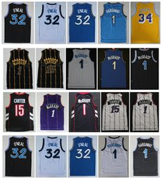 Jerseys retro basquete on-line-Retro Vince 15 Carter Jersey Tracy 1 McGrady Penny 1 Hardoway Shaquille 32 Oneal Jerseys Vintage 100% Stitching College Basketball Jersey