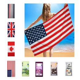 2019 bandiera di balneazione Asciugamano da bagno in microfibra estate 150 * 70cm Us Bandiera Uk Flag Asciugamano da spiaggia stampato US Dollar Asciugamano da viaggio Asciugamano sportivo Quick-Dry BH1886 TQQ bandiera di balneazione economici