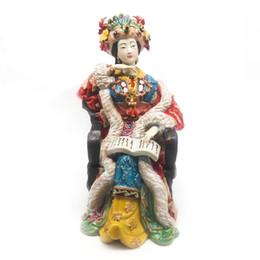 Estatuas de imitación online-Escultura de cerámica femenina Artes China antigua figura de imitación estatua coleccionables decoración estatuilla mejores regalos