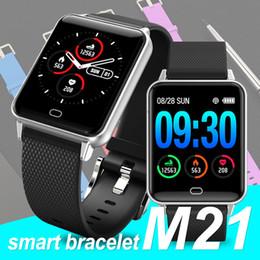 Cronómetro deportivo a prueba de agua online-M21 Smartwatch pulsera impermeable cronómetro monitor de presión de oxígeno en la sangre Sports Fitness Tracker pulsera para Android IOS Smartphones