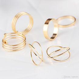 anillos de dedo personalizados Rebajas joyería de moda anillos simples sistema del estilo de la vendimia nueva joyería 6 de oro / plata anillo conjunto damas punta del dedo medio de apilamiento mayor anillo