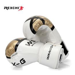 2019 luva de muay thai Rexchi Kick Luvas De Boxe Para Mulheres Dos Homens Pu Karate Muay Thai Guantes De Boxeo Luta Livre Mma Sanda Treinamento Adultos Crianças Equipamentos C19040401 desconto luva de muay thai