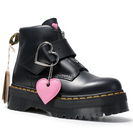 boots cowhide leather Coupons - Boots Female Buckle Cowhide Leather Short Boots Girl Fashion Zipper Love Thick Bottom British Wind Winter Shoes