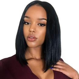malasia rizado u parte peluca Rebajas Frente pelucas del pelo humano corto Bob peluca de pelo brasileño de Remy Solo para Mujeres Negro peluca de encaje color natural dollfac