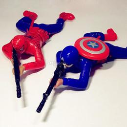 Desenho animado do soldado on-line-Dropshipping Kid Soldado dos desenhos animados Elétrico Capitão América Spiderman Hulk Rastejamento Brilhante Tiros de Ação Figura de ação crianças brinquedos Caixa de Varejo
