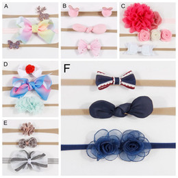 2019 cabelo arcos bolas 3 pçs / lote infantil headband flor arco lantejoulas hairband headwear floral bola de coelho fio de nylon conjunto de cabelo acessórios desconto cabelo arcos bolas
