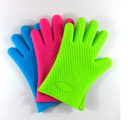 microwave mitts Promo Codes - Silicone Kitchen Cooking Gloves Microwave Oven Non-slip Mitt Heat Resistant Silicone Home Gloves Cooking Baking BBQ gloves Holder