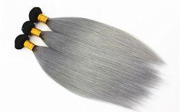 grau ombre reines haar Rabatt 1B / Grau Glattes Haar Extensions 3 oder 4 Bundles Brasilianisches 100% Reines Menschenhaar Spinnt Ombre Two Tone Farbe 10-18 zoll
