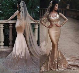 robe de mariée arabe Promotion 2019 élégantes saoudien arabe deux pièces robes de soirée sirène manches longues formelle pure v cou appliques longues robes de mariée robe de bal