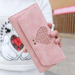 La carpeta del corazón de largo online-Crazy2019 YOUYOU MOUSE Encantador Hollow Heart Pattern Wallet Long Section PU Leather 3 Fold Wallet Color sólido Monedero de gran capacidad