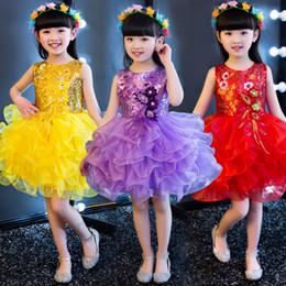 Современные платья онлайн-Детский Puff юбки одеваются одеваются девочек Платья Современный танец Walking лето