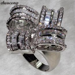 2020 gran anillo de flores de plata Choucong Gran Flor Anillo de Promesa de Plata de Ley 925 5A cz Anillos de Boda de Compromiso Para Las Mujeres Regalo de Joyería de Dedo Nupcial gran anillo de flores de plata baratos