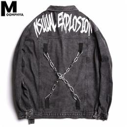 Chaqueta de cadena cruzada online-Moomphya Hombres Ropa 2019 divertido Cruz Denim cadena chaqueta de los hombres de gran tamaño de la vendimia Streetwear capa de la chaqueta rasgada agujeros de Hombre SH190918