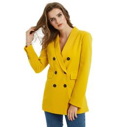 donna carriera carriera nero Sconti Tuta rosa di colore giallo giacca sportiva donne del manicotto di moda cappotto lungo Donna Elegante Doppio Petto Giacca tailleur femminili