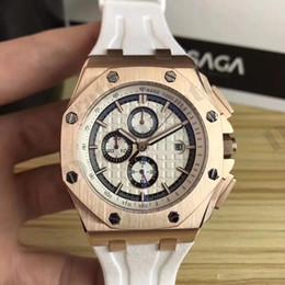 Medidor de goma online-Reloj de los hombres Relojes de cuarzo de lujo 42mm de alta calidad VK Movimiento de cuarzo Reloj Correa de caucho impermeable 50 metros zafiro reloj de pulsera