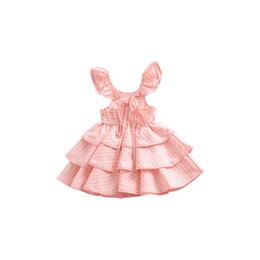 Torta di vestito dal bambino dentellare online-Estate bambina dres Flying Sleeve Backless Dress Tutu di torta in cotone rosa Confortevole per 0-6T