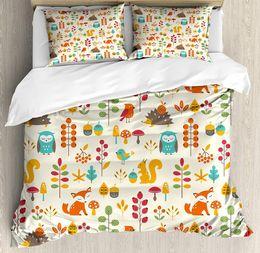 Комплект осеннего пододеяльника онлайн-Children Duvet Cover Set Cute Kids Autumn Pattern with Owl  Squirrel Birds Animal Leaves Artsy Print 4 Piece Bedding Set