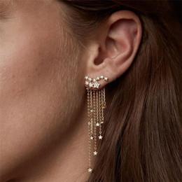 2019 orecchini di modo che appendono lungamente Orecchini lunghi europei gioielli moda brillanti stelle nappe appese orecchini fascino per la festa delle donne ragazza orecchini di modo che appendono lungamente economici