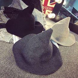 хэллоуин шляпы сделать Скидка 1 шт Современного Хэллоуин ведьма Hat Шерстяной женщин Lady Сделана из Модной овечьей шерсти шляпы фестиваля Halloween Party партии