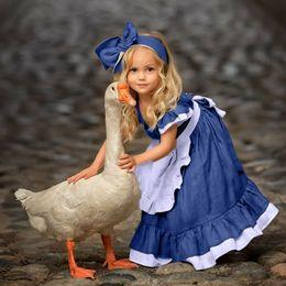 07dae80963d Летнее платье для малышей с длинными рукавами и сплошным платьем + накидка  на голову повязка Корзина Enfant Fille женское платье аутлет