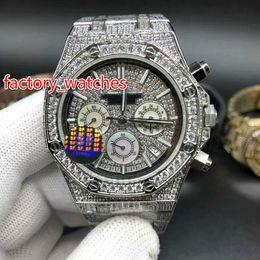 Estojo de prata on-line-Diamantes cheios de quartzo brilhante relógio 41mm bling iced prata caixa de aço prata face do diamante VK Cronógrafo cheio de relógios congelados frete grátis