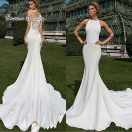 vestidos de novia blanco sexy recepción Rebajas 2020 Modest recepción de la boda vestidos sin mangas Vestidos de novia sirena atractiva Vestido de novia blanco Apliques Sheer Volver robe de matrimonio