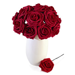 2019 vestuário de fita de cetim Hot venda colorido Foam Artificial Rose Flowers w / Caule, Decor Flor de pulso DIY Wedding Bouquets Corsage Headpiece Centerpieces partido Home