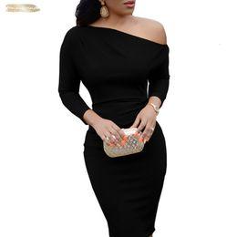 2019 una manga de spandex vestidos negros Mujeres Sexy Vestido Negro Mujer Primavera de manga larga longitud de la rodilla Red Spandex otoño lápiz Vestido ajustado de un solo hombro del partido del vestido Vestido una manga de spandex vestidos negros baratos