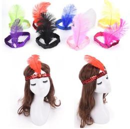 Wholesale Piuma Fascia Paillettes Costume Hairband Copricapo Donna Donna Gioielli per feste Strass Indian Hairband Accessori per capelli LJJK1323