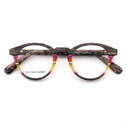 Красочные очки онлайн-Coyee  Designer 2019 Retro Eyeglasses Colorful Optical Frame Acetate Round Eyewear For Women Men Myopia feminino spectacles