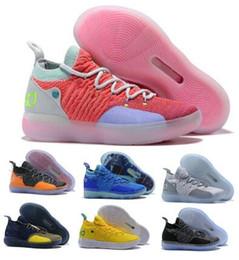 sapatos kd cor-de-rosa Desconto Kd 11 Mens Tênis De Basquete Rosa Kevin Durant 11s XI Ainda KD Eybl Twilight Pulse Zodíaco Chinês 2019 Novo Designer Baskt Tênis de Skate