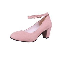 chunky mary jane shoes Coupons - Ankle Strap Buckle Thick High Heel Ladies Red Pumps 2019 Spring Sexy Wedding Shoes Bride Mary Jane Shoes Party Heel Shoes for Ladies