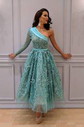 332bcc122 2019 vestidos de beleza noite do ombro Beleza Yousef Aljasmi Turquesa  Vestidos de Baile Uma Linha