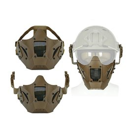 pescoço aquecedores snowboard Desconto Novo Ferro Guerreiro Metade Máscara Facial Cs Uso Sling Com Capacete Rápido Proteger O Ciclismo